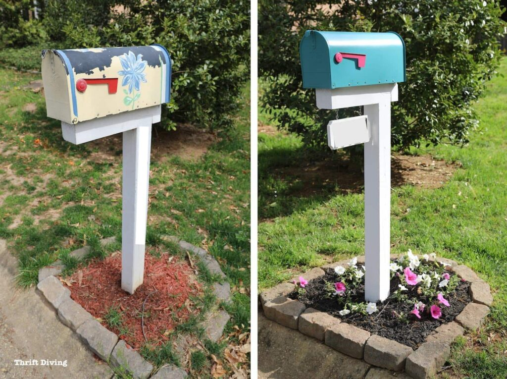 before and after mailbox from thriftdiving.com