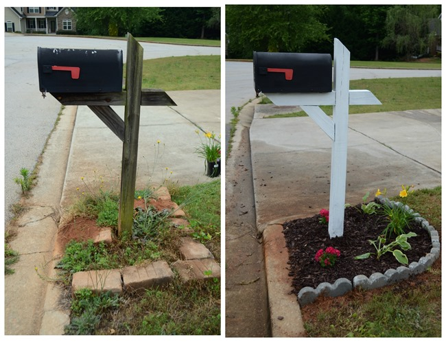before and after mailbox from thefrugalhomemaker.com